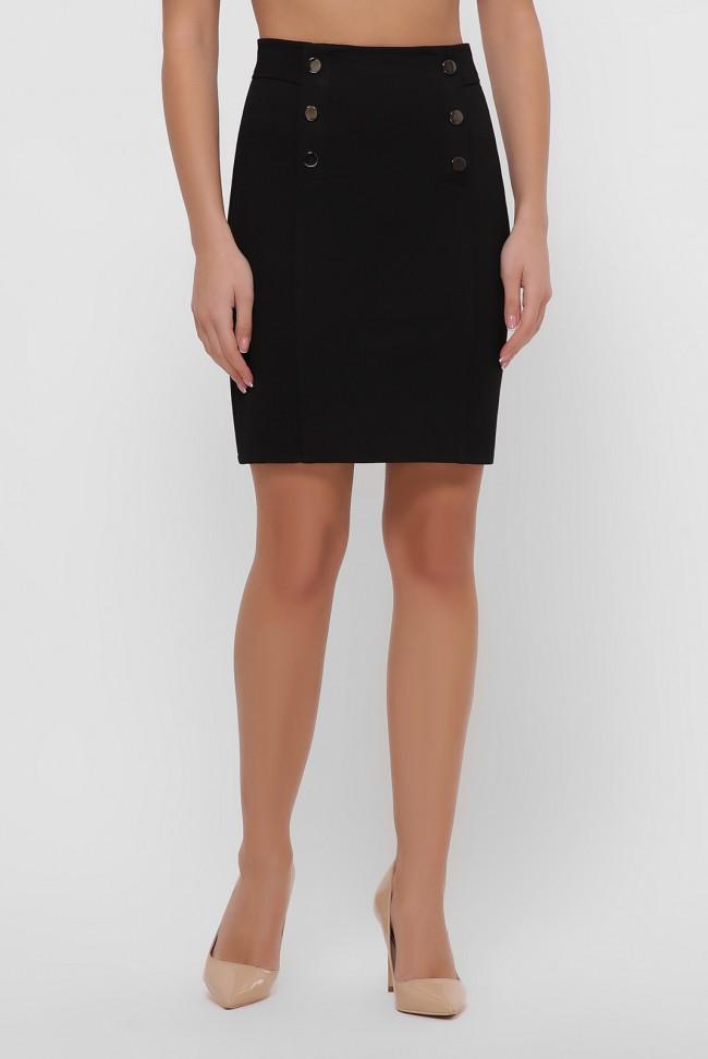 Черная юбка мини с кокеткой. YUB-1068A