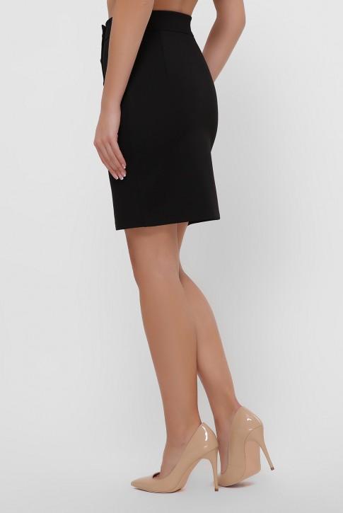 Черная юбка мини с кокеткой. YUB-1068A (фото 2)