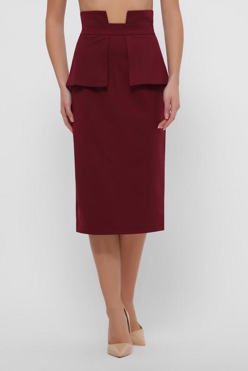 Бордовая зауженная юбка с баской. YUB-1057A