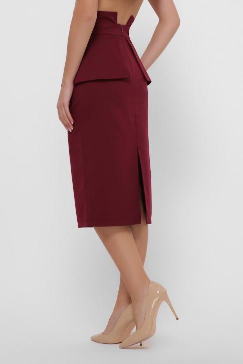 Бордовая зауженная юбка с баской. YUB-1057A (фото 2)