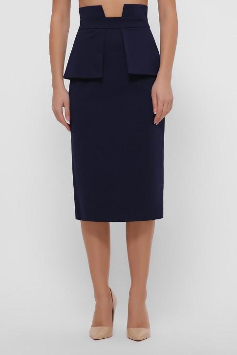 Темно-синяя зауженная юбка с баской. YUB-1057B