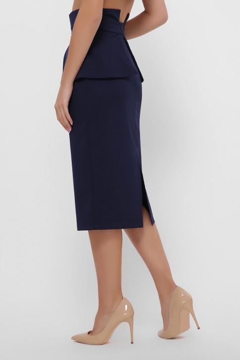 Темно-синяя зауженная юбка с баской. YUB-1057B (фото 2)