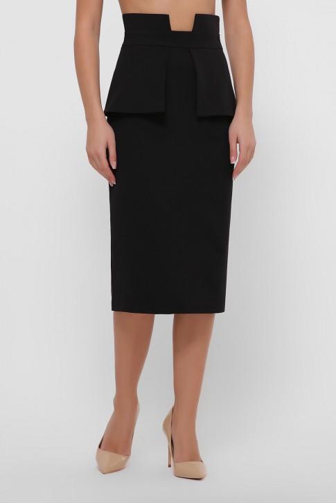 Черная зауженная юбка с баской. YUB-1057C