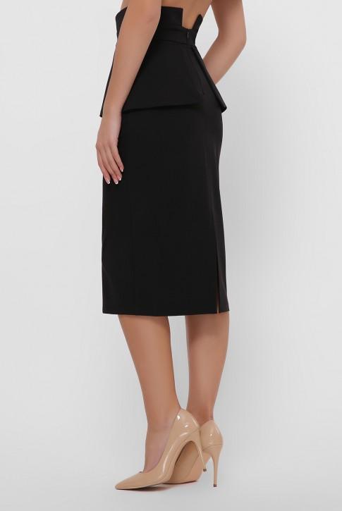 Черная зауженная юбка с баской. YUB-1057C (фото 2)