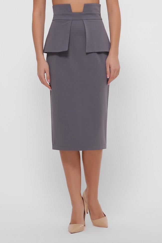 Серая зауженная юбка с баской. YUB-1057D