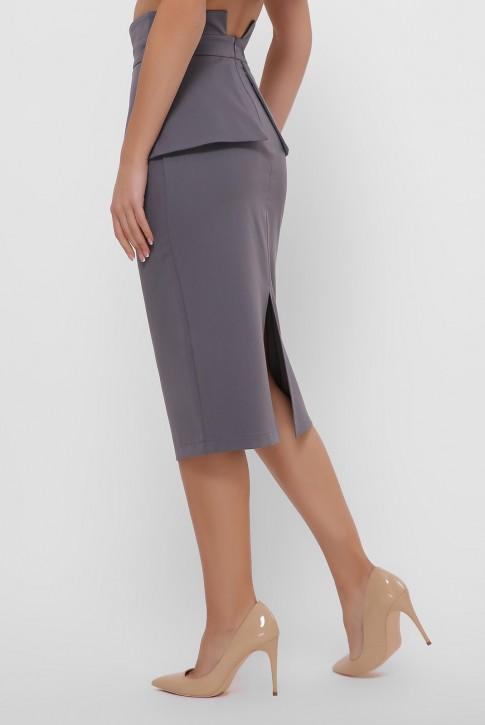 Серая зауженная юбка с баской. YUB-1057D (фото 2)