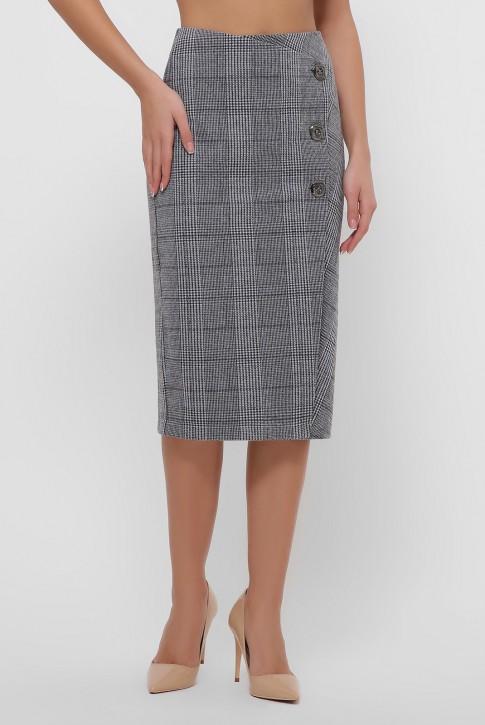 Серая кашемировая юбка на пуговицах. YUB-1065A