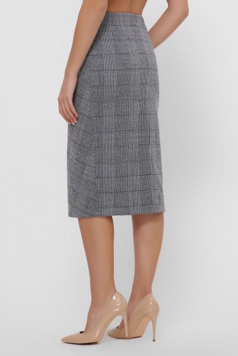 Серая кашемировая юбка на пуговицах. YUB-1065A (фото 2)