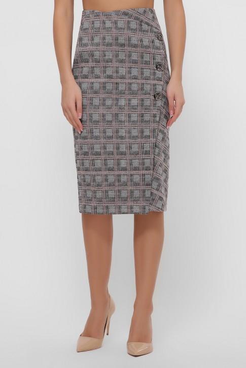 Бежевая кашемировая юбка на пуговицах. YUB-1065B