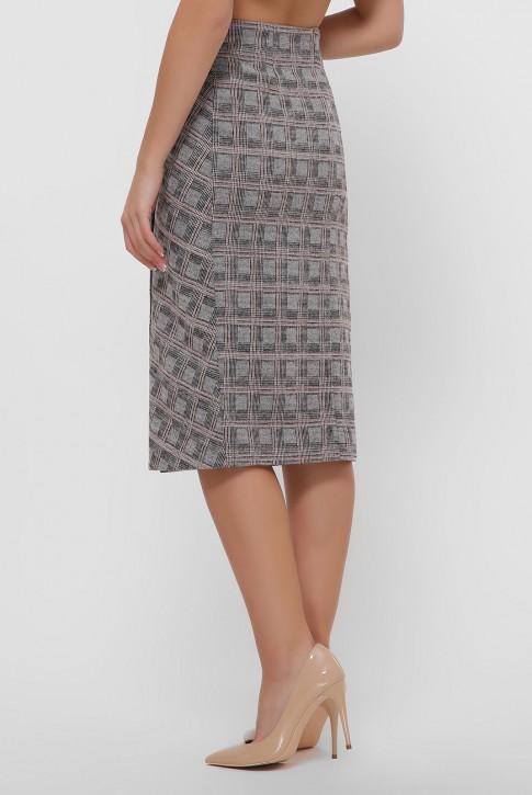 Бежевая кашемировая юбка на пуговицах. YUB-1065B (фото 2)
