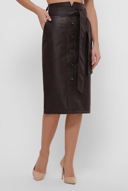 Кожаная юбка миди шоколадного цвета. YUB-1063A