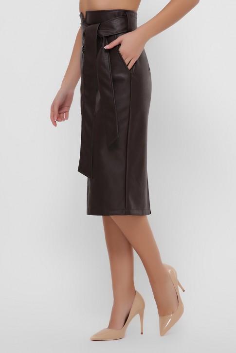 Кожаная юбка миди шоколадного цвета. YUB-1063A (фото 2)