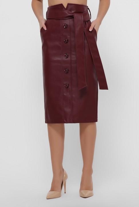 Кожаная юбка миди бордового цвета. YUB-1063B