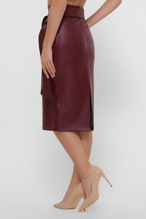 Кожаная юбка миди бордового цвета. YUB-1063B (фото 2)