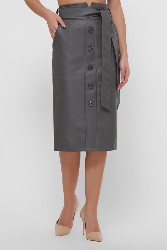 Кожаная юбка миди серого цвета. YUB-1063C