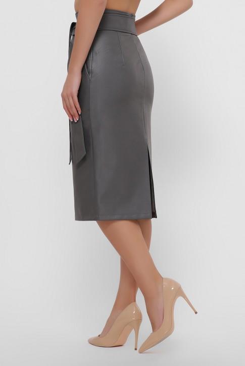 Кожаная юбка миди серого цвета. YUB-1063C (фото 2)