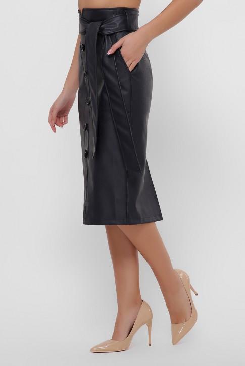 Кожаная юбка миди темно-синего цвета. YUB-1063D (фото 2)