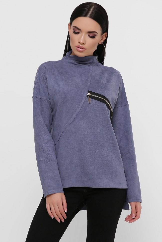 Женская кофта джинсового цвета из замши. KF-1811A