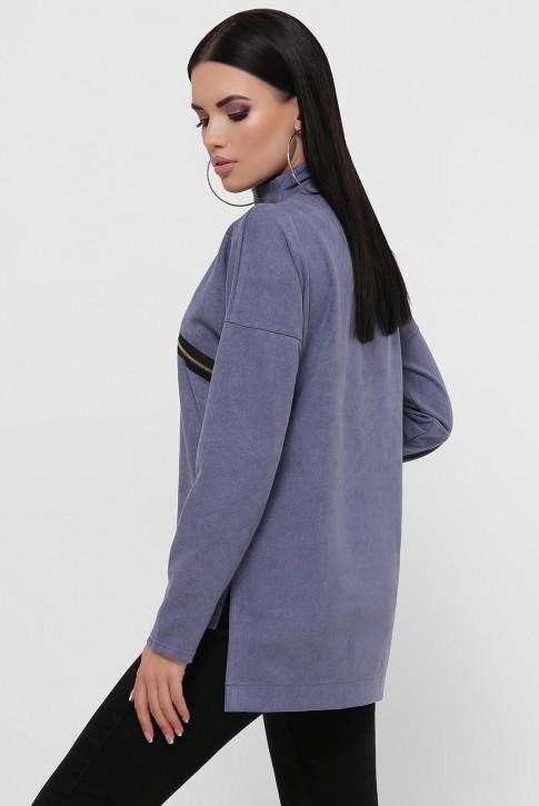 Женская кофта джинсового цвета из замши. KF-1811A (фото 2)
