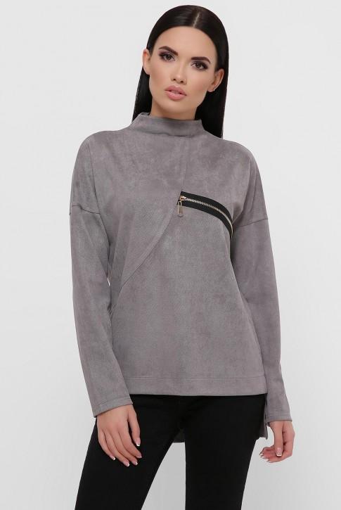 Женская кофта серого цвета из замши. KF-1811B