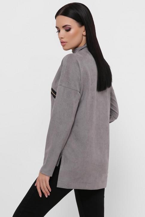 Женская кофта серого цвета из замши. KF-1811B (фото 2)