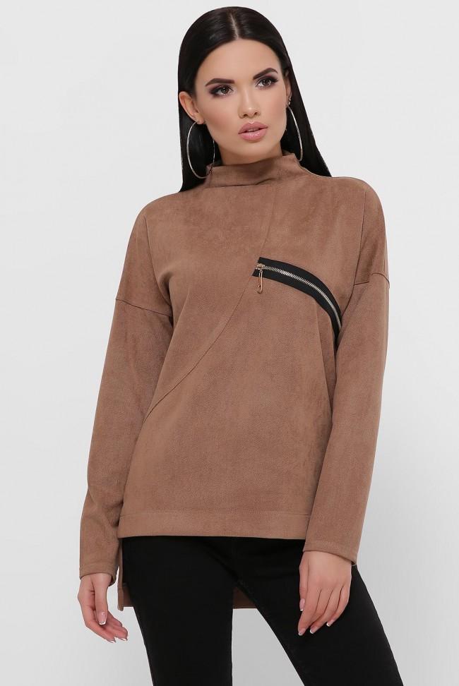 Женская кофта светло-коричневая из замши. KF-1811C