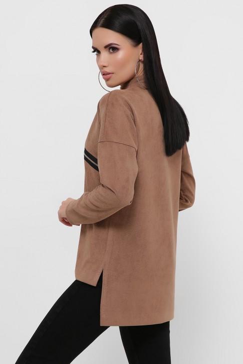 Женская кофта светло-коричневая из замши. KF-1811C (фото 2)