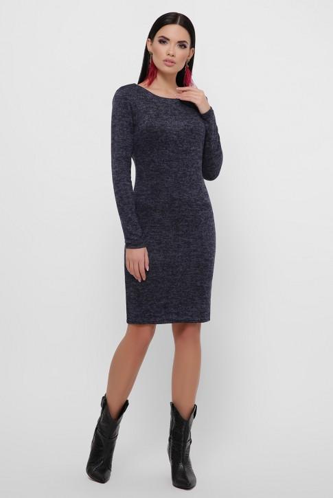 Темно-синее платье с треугольным вырезом на спине. PL-1812A