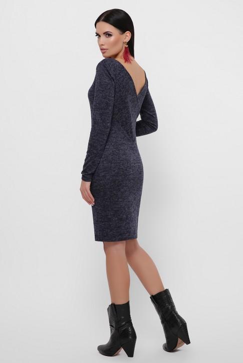 Темно-синее платье с треугольным вырезом на спине. PL-1812A (фото 2)