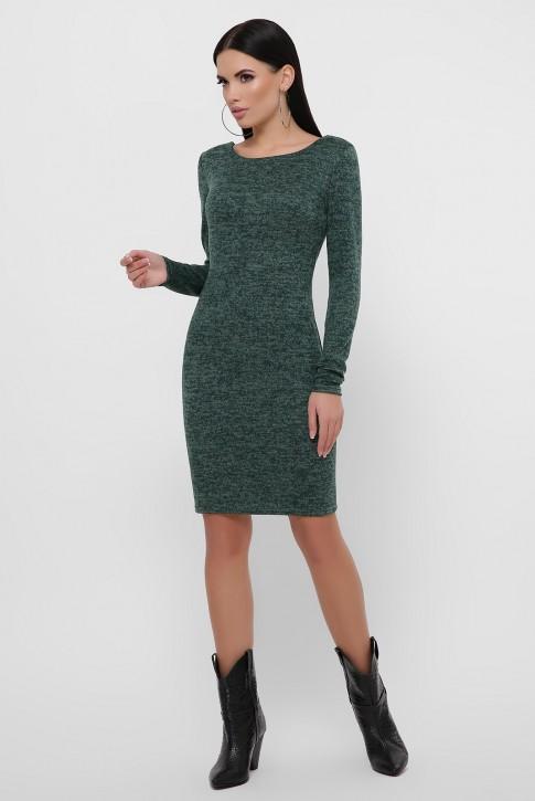 Темно-зеленое платье с треугольным вырезом на спине. PL-1812B