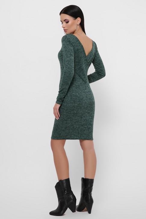 Темно-зеленое платье с треугольным вырезом на спине. PL-1812B (фото 2)