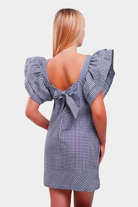 Темно-синее платье в клетку рукавами-воланами PL-1347F | Распродажа (фото 2)