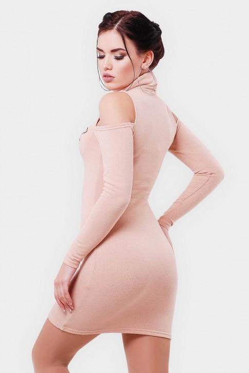 Платье с открытыми плечами и вышивкой цвета пудра. PL-1566D (фото 2)
