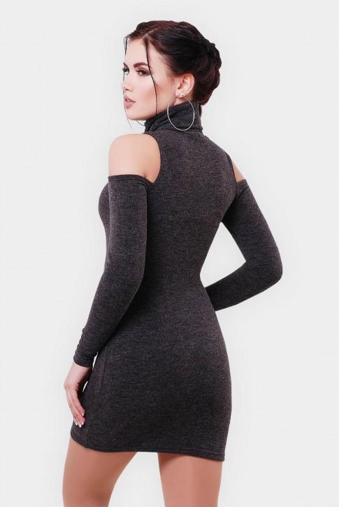 Платье с вырезами на рукавах и вышивкой. Цвет: графит (фото 2)