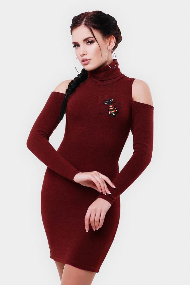 Марсальное платье миди с вырезами на плечах. PL-1566E