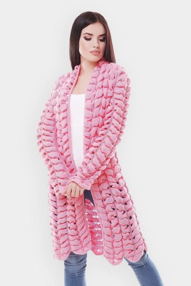 Вязаный кардиган азиатский колосок, светло-розовый VKA0015