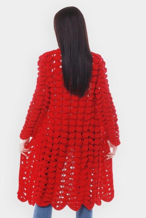 Вязаный кардиган азиатский колосок, красный VKA0013 (фото 2)