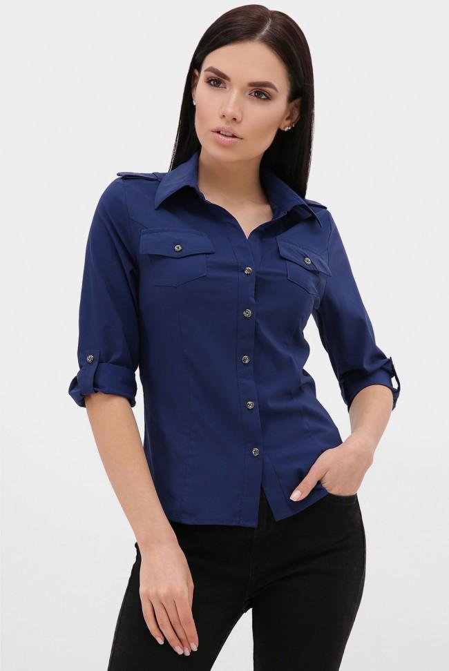 Женская рубашка 3/4 синяя RB-1011B