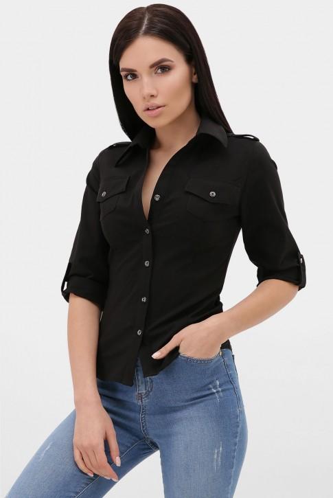 Женская рубашка 3/4 черная RB-1011C
