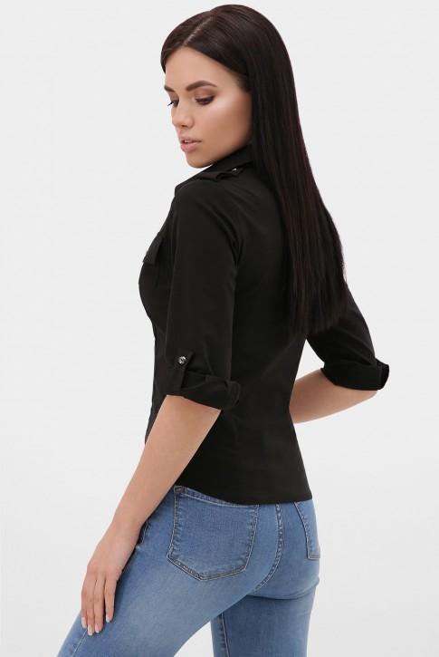 Женская рубашка 3/4 черная RB-1011C (фото 2)