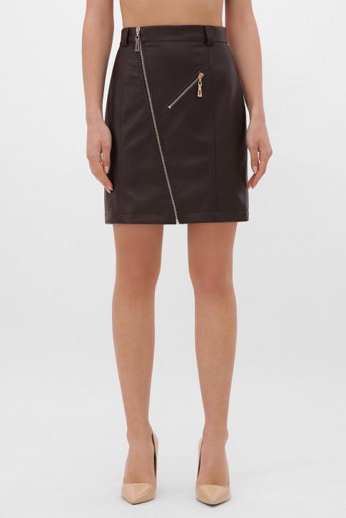 Коричневая кожаная юбка с косой молнией. YUB-1075A