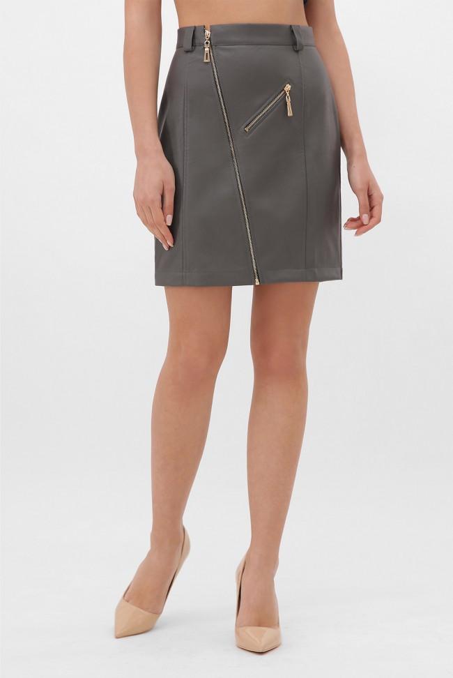Серая кожаная юбка с косой молнией. YUB-1075C