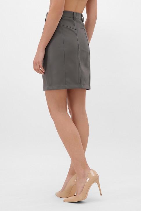 Серая кожаная юбка с косой молнией. YUB-1075C (фото 2)