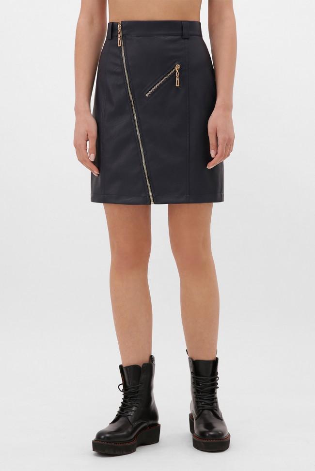 Темно-синяя кожаная юбка с косой молнией. YUB-1075D