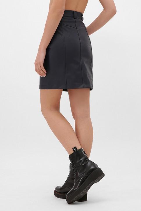 Темно-синяя кожаная юбка с косой молнией. YUB-1075D (фото 2)