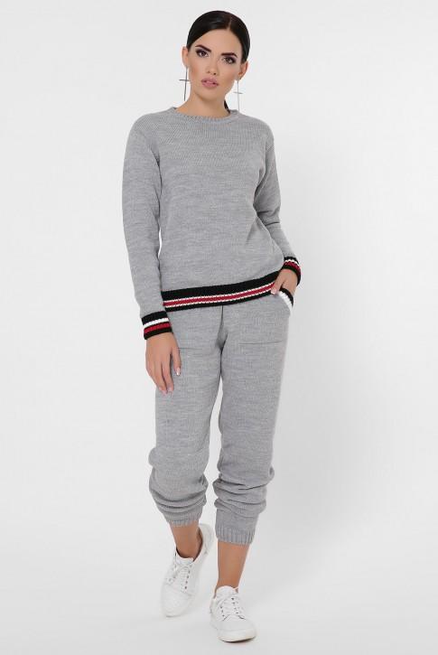 Женский вязаный костюм с цветными манжетами, серый KSE0001