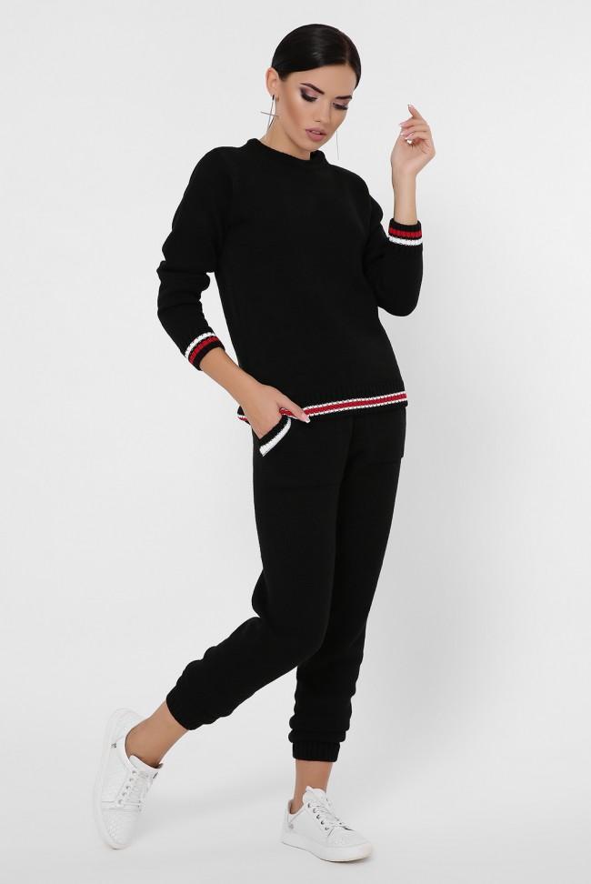 Черный вязаный костюм. KSE0007