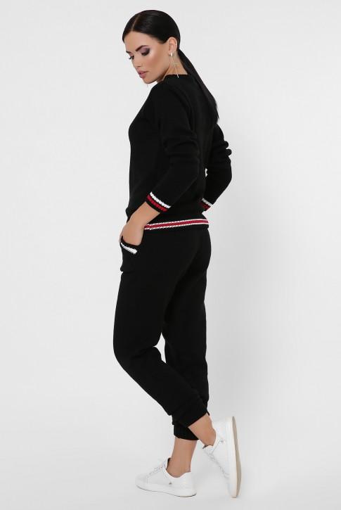 Женский вязаный костюм с цветными манжетами, черный KSE0007 (фото 2)