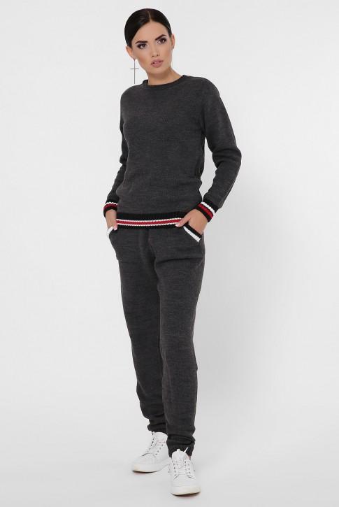 Женский вязаный костюм с цветными манжетами, графитовый KSE0006