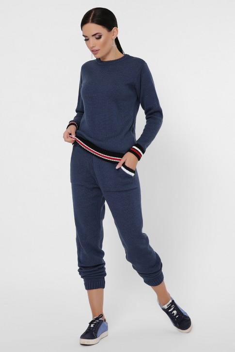 Женский вязаный костюм с цветными манжетами, синий KSE0004